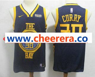 Men's Golden State Warriors #30 Stephen Curry New Navy Blue 2019 City Edition NEW Rakuten Logo NBA Swingman Jersey