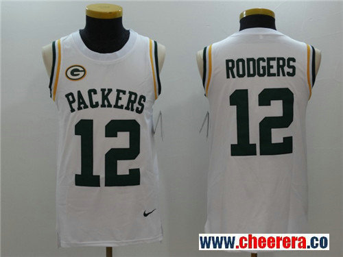 Men's Green Bay Packers #12 Aaron Rodgers White Color Rush 2017 Vest Stitched NFL Nike Tank Top Jersey