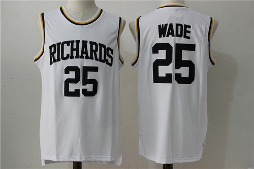 Men's Harold L. Richards High School #25 Dwyane Wade White Soul Swingman Basketball Jersey