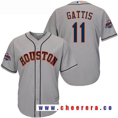 Men's Houston Astros #11 Evan Gattis Gray Road Majestic Cool Base Stitched 2017 World Series Champions Patch Jersey