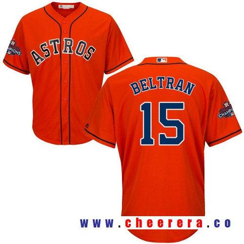 Men's Houston Astros #15 Carlos Beltran Orange Alternate Majestic Cool Base Stitched 2017 World Series Champions Patch Jersey