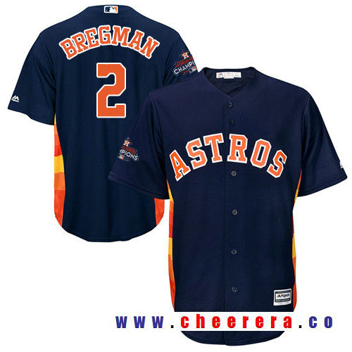 Men's Houston Astros #2 Alex Bregman Navy Blue Alternate Majestic Cool Base Stitched 2017 World Series Champions Patch Jersey