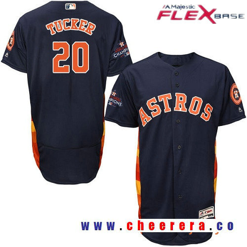 Men's Houston Astros #20 Preston Tucker Navy Blue Alternate Majestic Flex Base Stitched 2017 World Series