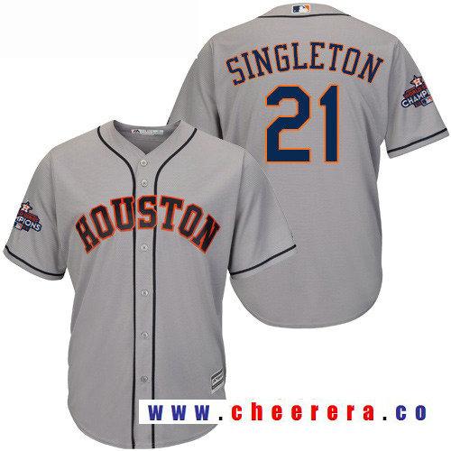 Men's Houston Astros #21 Jon Singleton Gray Road Majestic Cool Base Stitched 2017 World Series Champions Patch Je