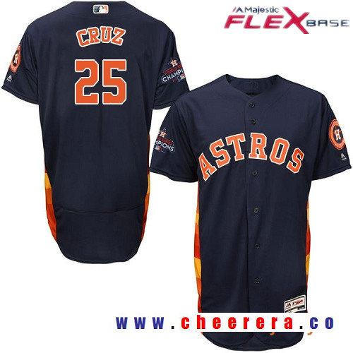 Men's Houston Astros #25 Jose Cruz Jr. Navy Blue Alternate Majestic Flex Base Stitched 2017 World Series Champions Patch Jersey