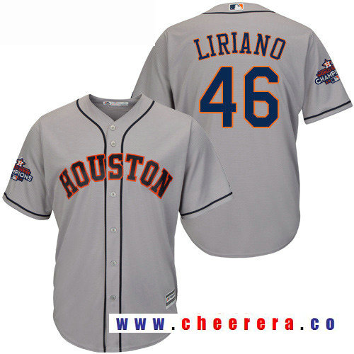 Men's Houston Astros #46 Francisco Liriano Gray Road Majestic Cool Base Stitched 2017 World Series Champions Patch Jersey