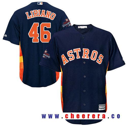 Men's Houston Astros #46 Francisco Liriano Navy Blue Alternate Majestic Cool Base Stitched 2017 World Series