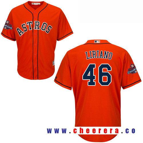 Men's Houston Astros #46 Francisco Liriano Orange Alternate Majestic Cool Base Stitched 2017 World Series
