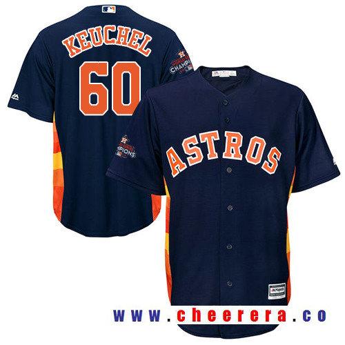 Men's Houston Astros #60 Dallas Keuchel Navy Blue Alternate Majestic Cool Base Stitched 2017 World Series