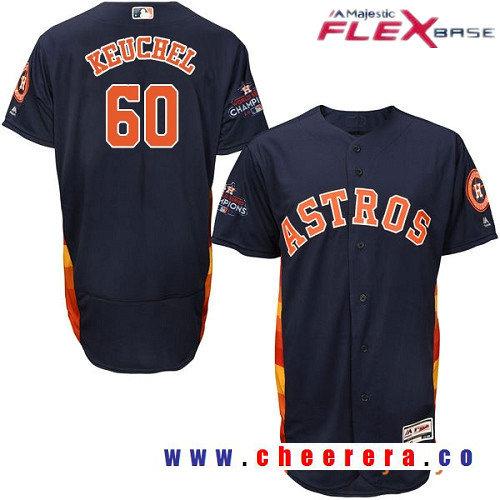 Men's Houston Astros #60 Dallas Keuchel Navy Blue Alternate Majestic Flex Base Stitched 2017 World Series