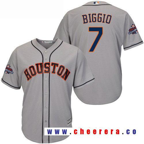 Men's Houston Astros #7 Craig Biggio Gray Road Majestic Cool Base Stitched 2017 World Series Champions Patch J