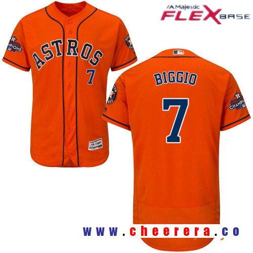 Men's Houston Astros #7 Craig Biggio Orange Alternate Majestic Flex Base Stitched 2017 World Series Champions Patch Jer