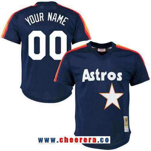 Men's Houston Astros Navy Blue Mesh Batting Practice Throwback Majestic Cooperstown Collection Custom Baseball Jersey