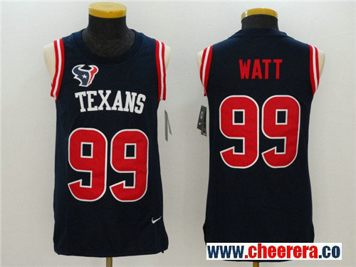 Men's Houston Texans #99 J.J. Watt Navy Blue Color Rush 2017 Vest Stitched NFL Nike Tank Top Jersey