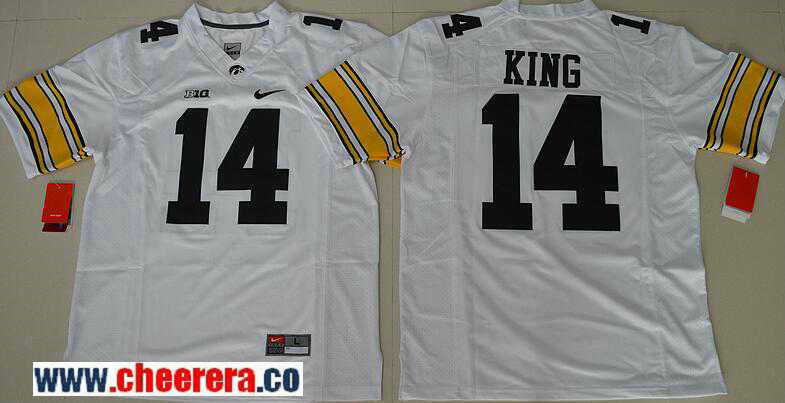 Men's Iowa Hawkeyes #14 Desmond King White Limited Stitched College Football Nike NCAA Jersey