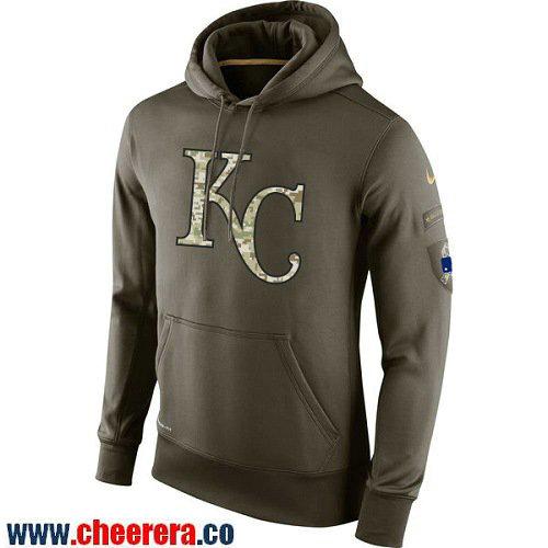 Men's Kansas City Royals Nike Olive Green Salute To Service MLB KO Performance Hoodie