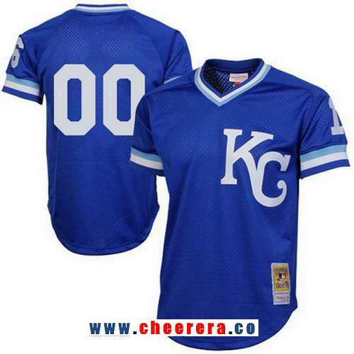 Men's Kansas City Royals Royal Blue Mesh Batting Practice Throwback Majestic Cooperstown Collection Custom Baseball Jersey
