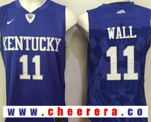 Men's Kentucky Wildcats #11 John Wall Royal Blue College Basketball 2016 Nike Swingman Stitched NCAA Jersey