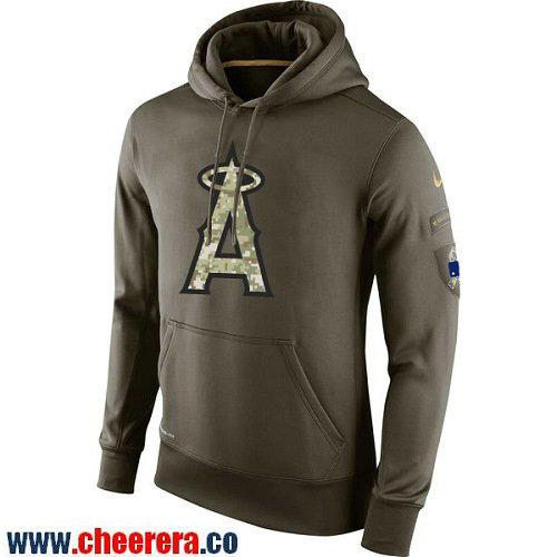Men's Los Angeles Angels of Anaheim Nike Olive Green Salute To Service MLB KO Performance Hoodie