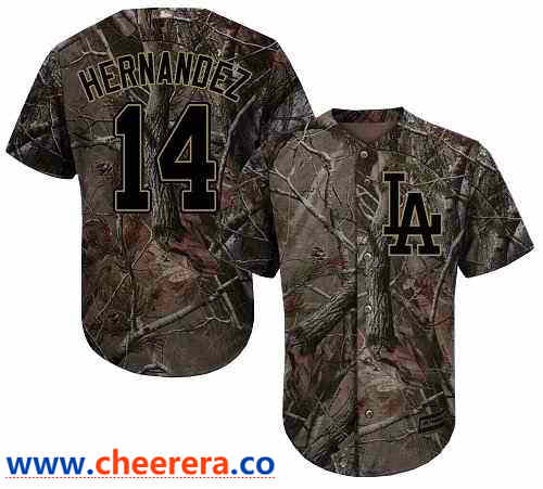 Men's Los Angeles Dodgers #14 Enrique Hernandez Camo Realtree Collection Cool Base Stitched MLB Jersey