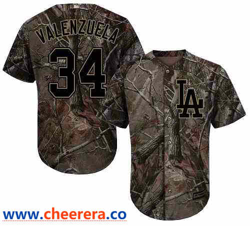 Men's Los Angeles Dodgers #34 Fernando Valenzuela Camo Realtree Collection Cool Base Stitched MLB Jersey