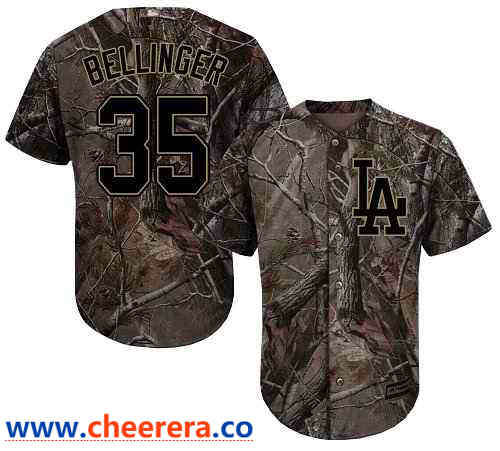 Men's Los Angeles Dodgers #35 Cody Bellinger Camo Realtree Collection Cool Base Stitched MLB Jersey