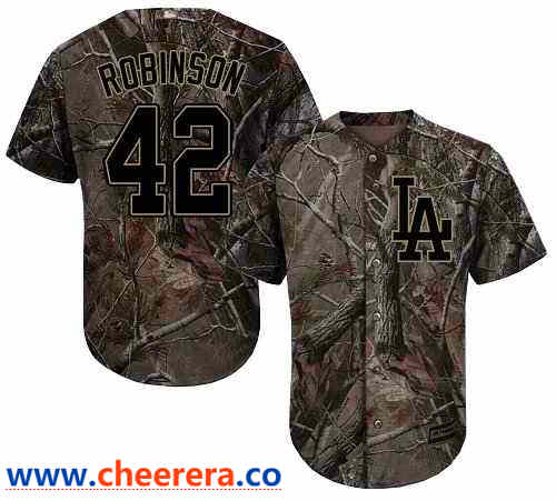 Men's Los Angeles Dodgers #42 Jackie Robinson Camo Realtree Collection Cool Base Stitched MLB Jersey