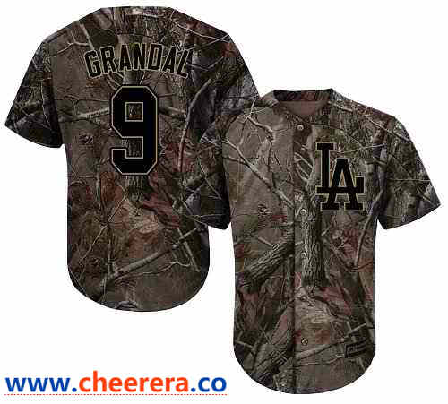 Men's Los Angeles Dodgers #9 Yasmani Grandal Camo Realtree Collection Cool Base Stitched MLB Jersey