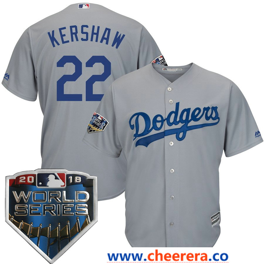 Men's Los Angeles Dodgers Clayton Kershaw Majestic Gray 2018 World Series Cool Base Player Jersey