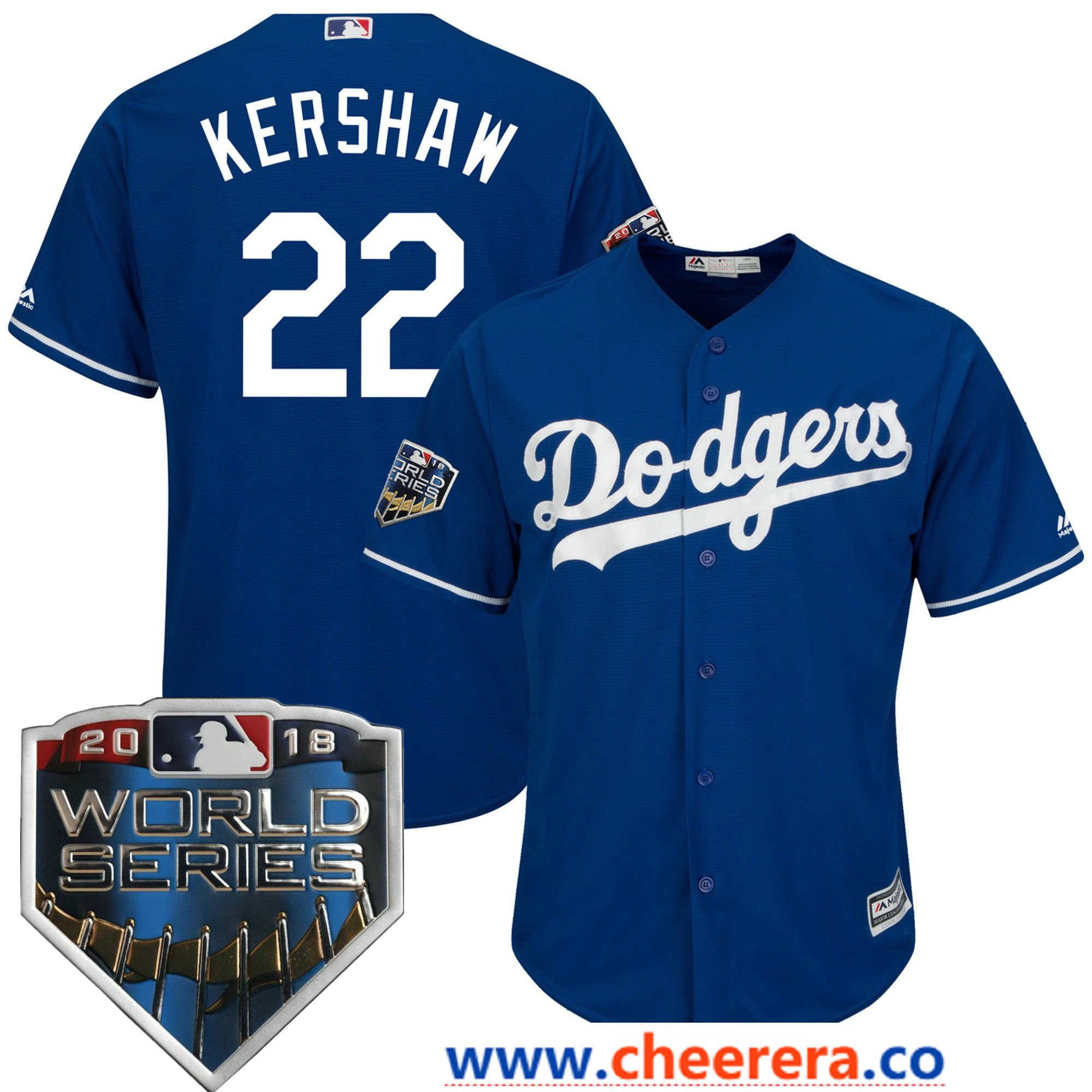 Men's Los Angeles Dodgers Clayton Kershaw Majestic Royal 2018 World Series Cool Base Player Jersey
