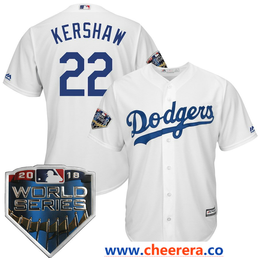 Men's Los Angeles Dodgers Clayton Kershaw Majestic White 2018 World Series Cool Base Player Jersey