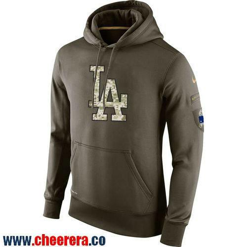 Men's Los Angeles Dodgers Nike Olive Green Salute To Service MLB KO Performance Hoodie