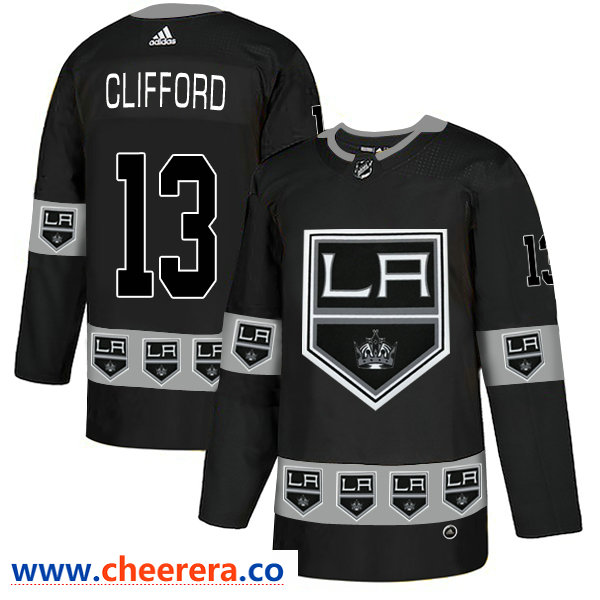 Men's Los Angeles Kings #13 Kyle Clifford Black Team Logos Fashion Adidas Jersey