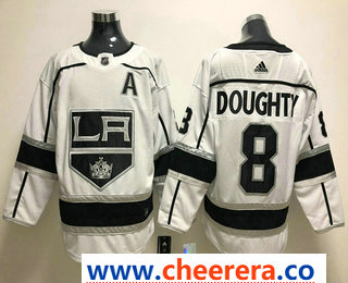 Men's Los Angeles Kings #8 Drew Doughty White With A Patch 2017-2018 Hockey Stitched NHL Jersey