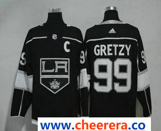 Men's Los Angeles Kings #99 Wayne Gretzky Black With C Patch 2017-2018 Hockey Stitched NHL Jersey