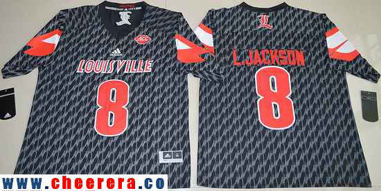 Men's Louisville Cardinals #8 Lamar Johnson Black Stitched College Football 2016 adidas NCAA Jersey