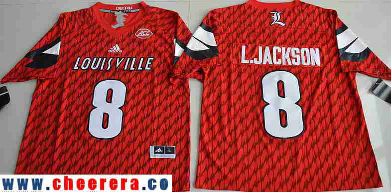 Men's Louisville Cardinals #8 Lamar Johnson Red Stitched College Football 2016 adidas NCAA Jersey