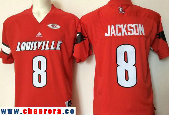 Men's Louisville Cardinals #8 Lamar Johnson Red Stitched College Football adidas NCAA Jersey