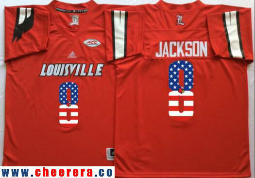 Men's Louisville Cardinals #8 Lamar Johnson Red USA Flag Fashion Stitched adidas NCAA Jersey
