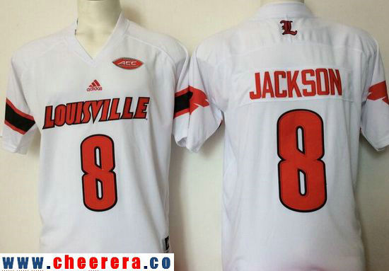 Men's Louisville Cardinals #8 Lamar Johnson White Stitched College Football adidas NCAA Jersey