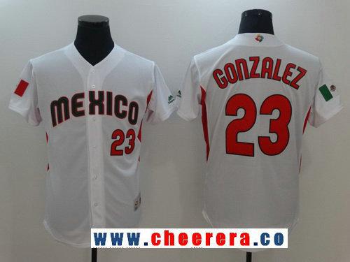 Men's Mexico Baseball #23 Adrian Gonzalez Majestic White 2017 World Baseball Classic Stitched Authentic Jersey