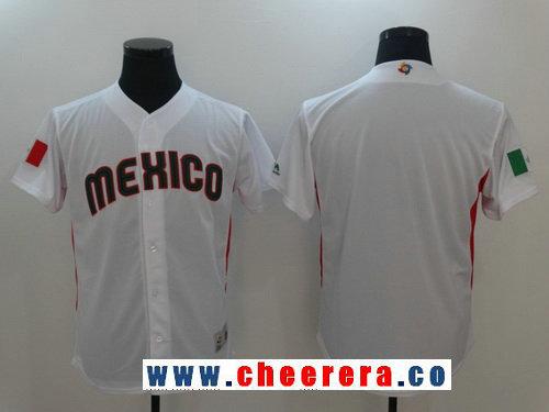 Men's Mexico Baseball Majestic White 2017 World Baseball Classic Blank Team Jersey