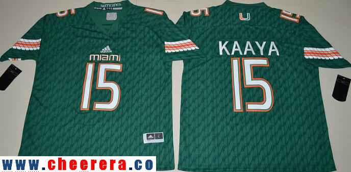 Men's Miami Hurricanes #15 Brad Kaaya Green Stitched NCAA 2016 adidas College Football Jersey
