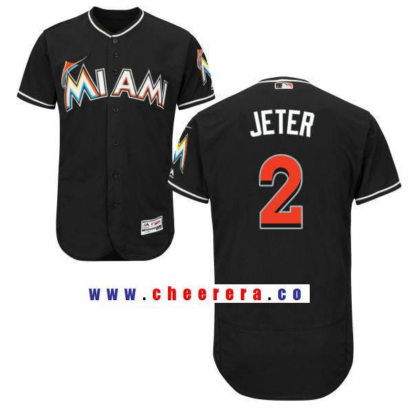 Men's Miami Marlins #2 Derek Jeter Black Alternate Stitched MLB Majestic Flex Base Jersey