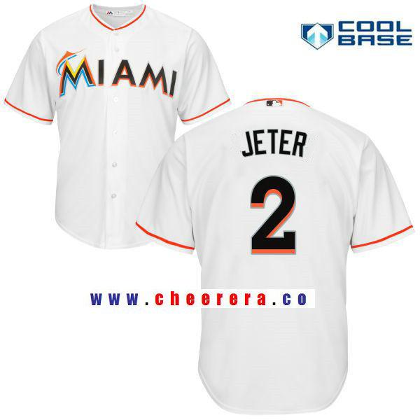 Men's Miami Marlins #2 Derek Jeter White Home Stitched MLB Majestic Cool Base Jersey