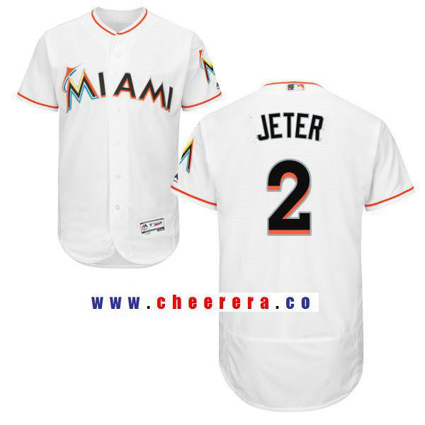 Men's Miami Marlins #2 Derek Jeter White Home Stitched MLB Majestic Flex Base Jersey