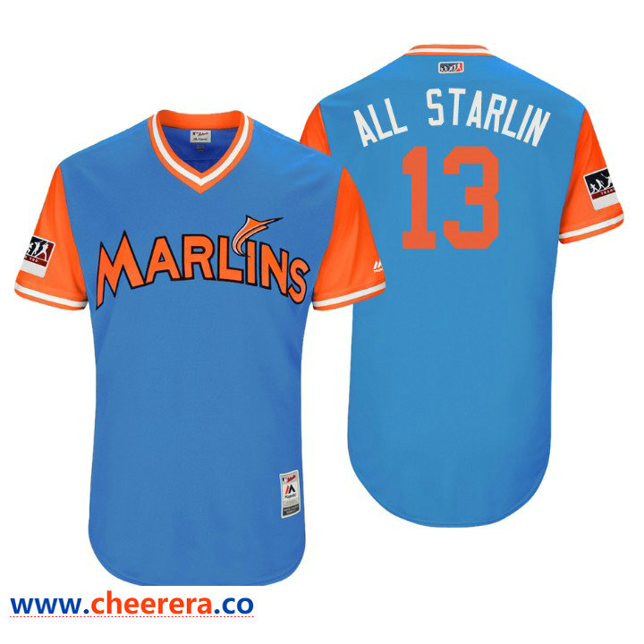 Men's Miami Marlins Authentic Starlin Castro #13 Light Blue 2018 LLWS Players Weekend All Starlin Jersey