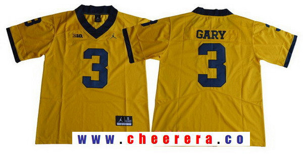 Men's Michigan Wolverines #3 Rashan Gary Yellow 2017 College Football Stitched Brand Jordan NCAA Jersey