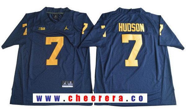 Men's Michigan Wolverines #7 Khaleke Hudson Navy Blue College Football Stitched Brand Jordan NCAA Jersey
