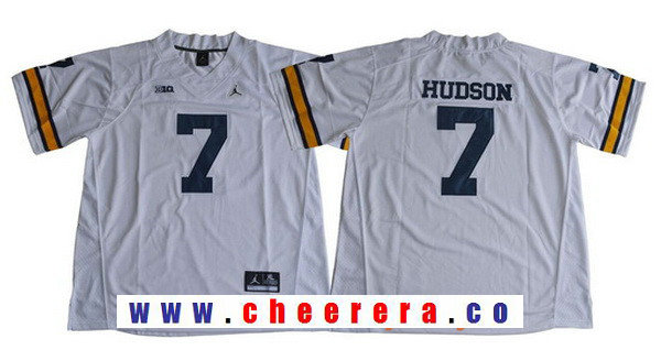 Men's Michigan Wolverines #7 Khaleke Hudson White College Football Stitched Brand Jordan NCAA Jersey